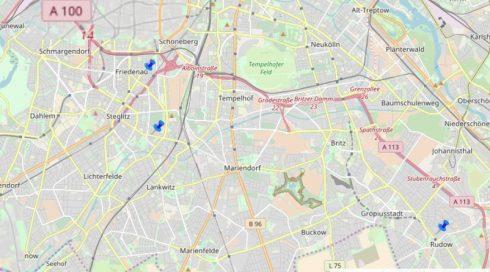 Karte der Standorte